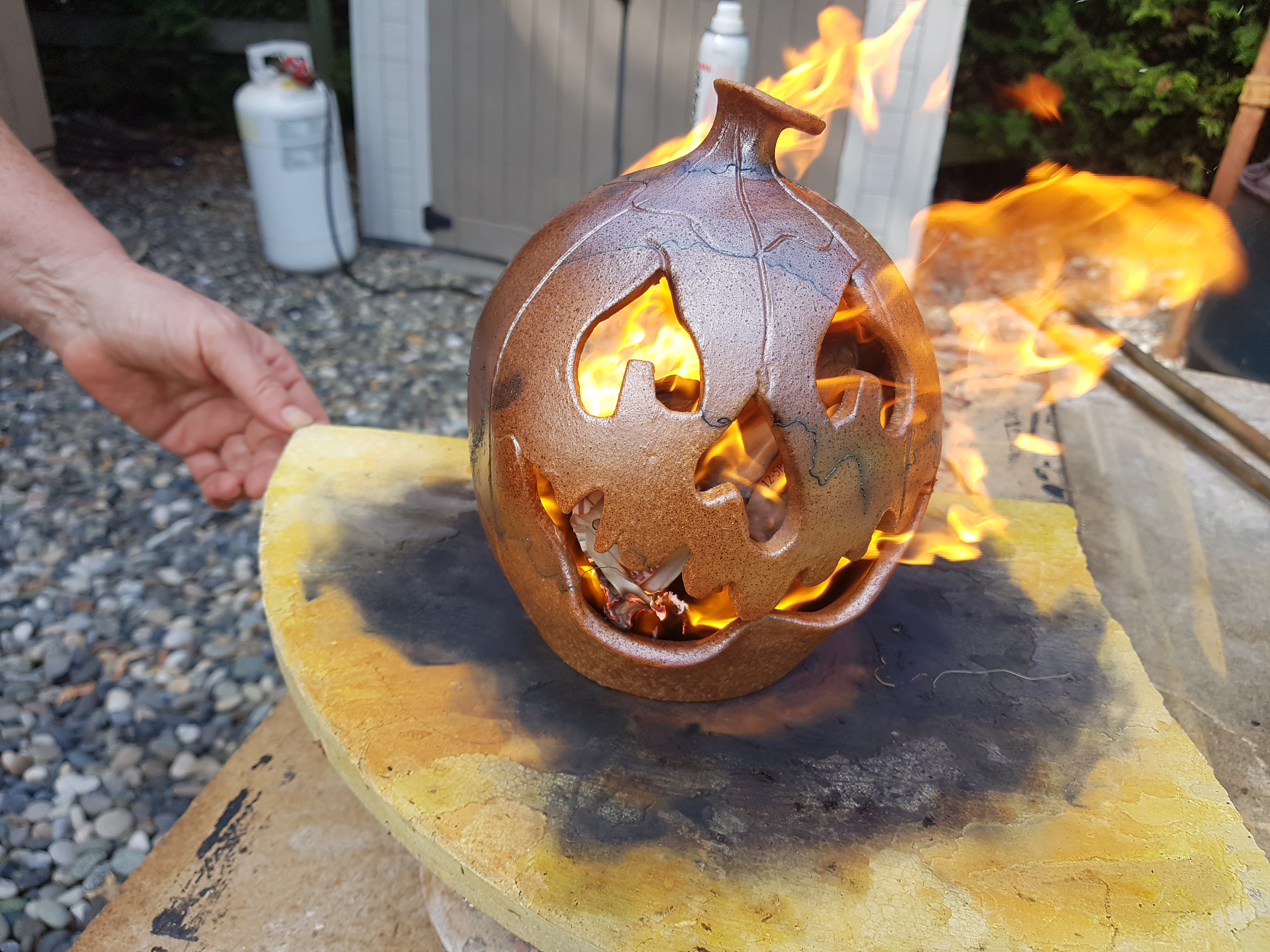 Halloween Horse Hair Handcrafted Pumpkin by Doing Earth Pottery