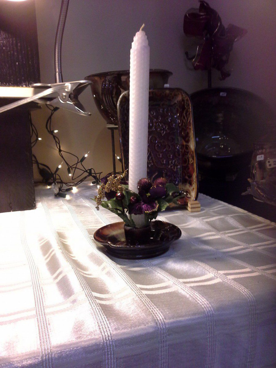 Candle Holder in Sunset Brown Doing Earth Pottery