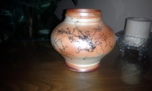 Raku fired Horse hair decorated Pottery