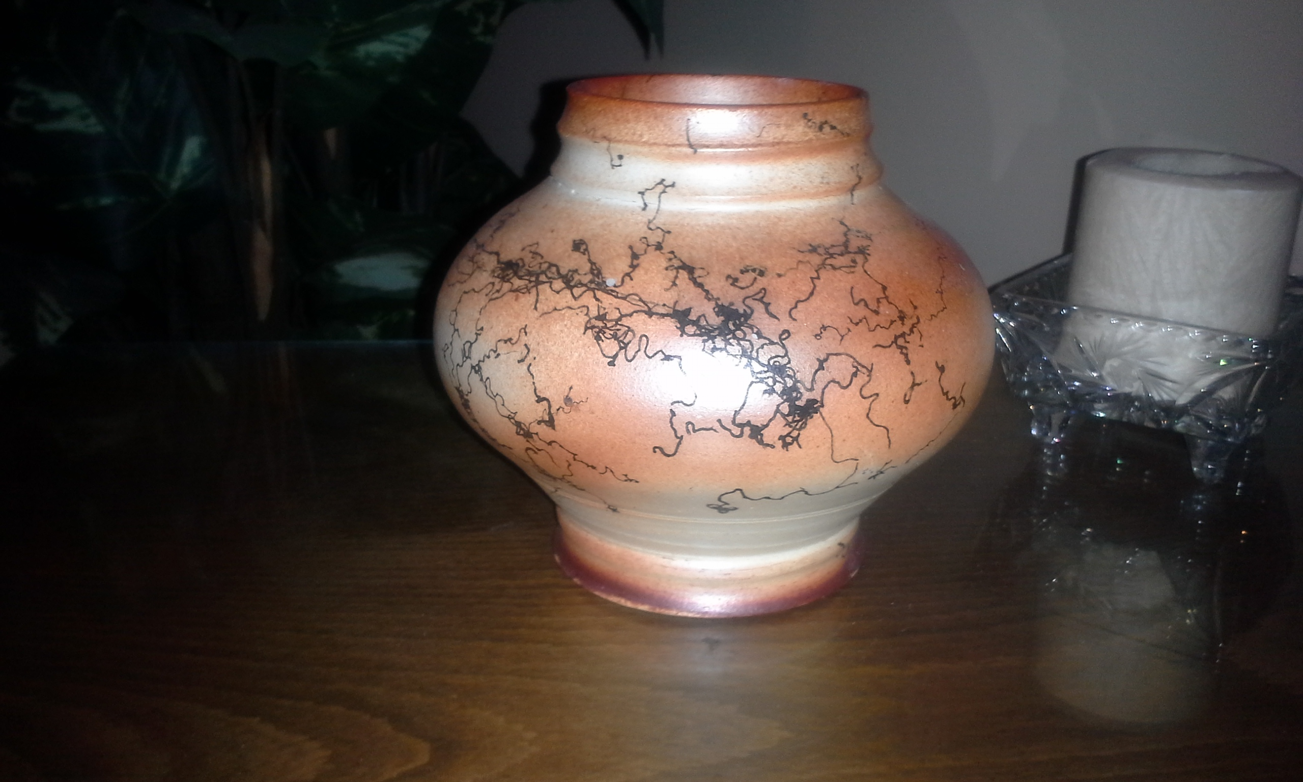 Raku fired Horse hair decorated Pottery