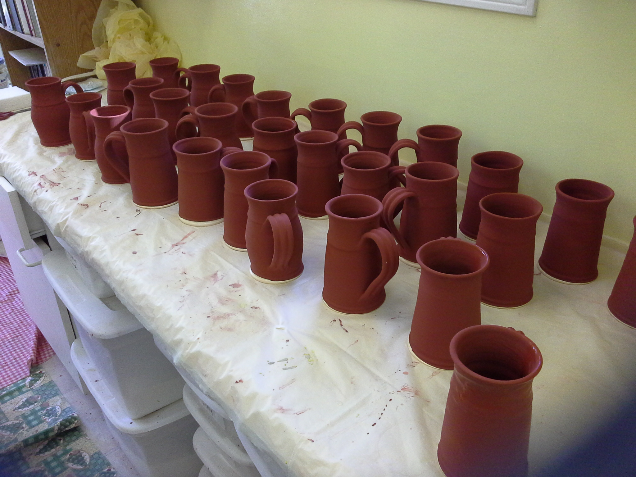 Non fired glaze handmade pottery mugs