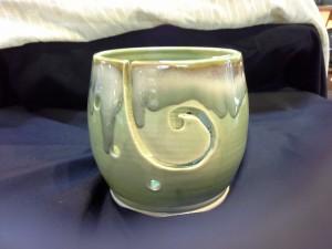 Peridot Green Wool Bowl Doing Earth Potery