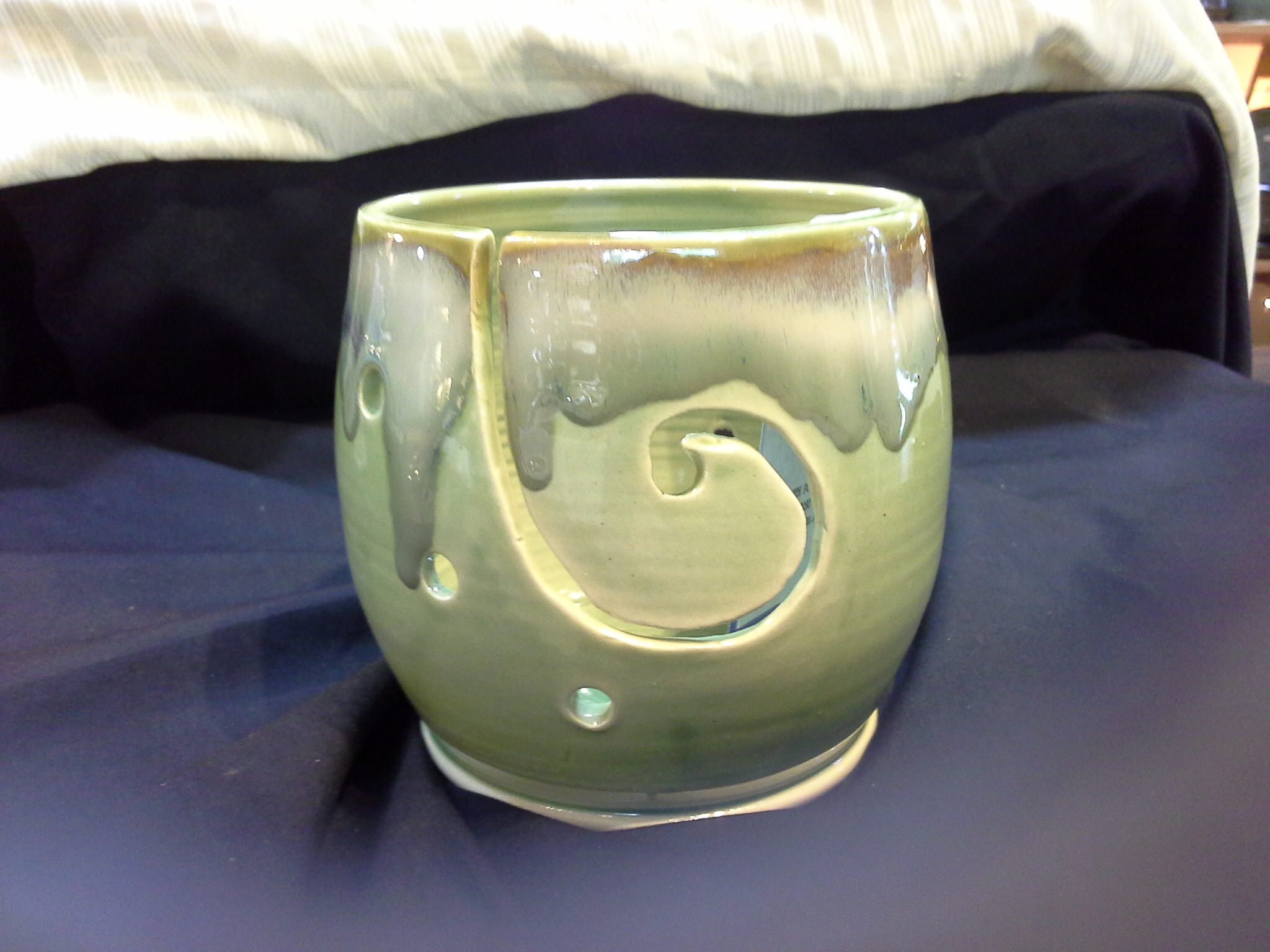 Peridot Green Wool Bowl Doing Earth Potery
