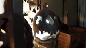 Handcraved Raku fired Halloween pumpking Doing Earth Pottery