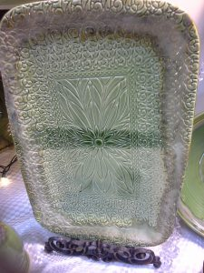 Unique Peridot Green Serving Platter Handmade from Doing Earth Pottery