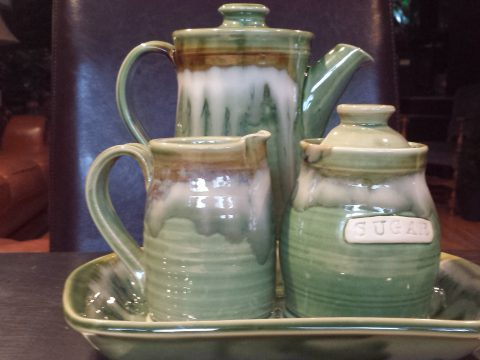 Coffee Carafe and Cream and Sugar Set Doing Earth Pottery