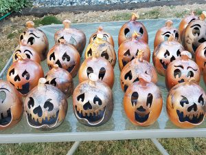 Hadcrafted Halloween Raku Horsehair Fired Pupmkins by Doing Earth Pottery