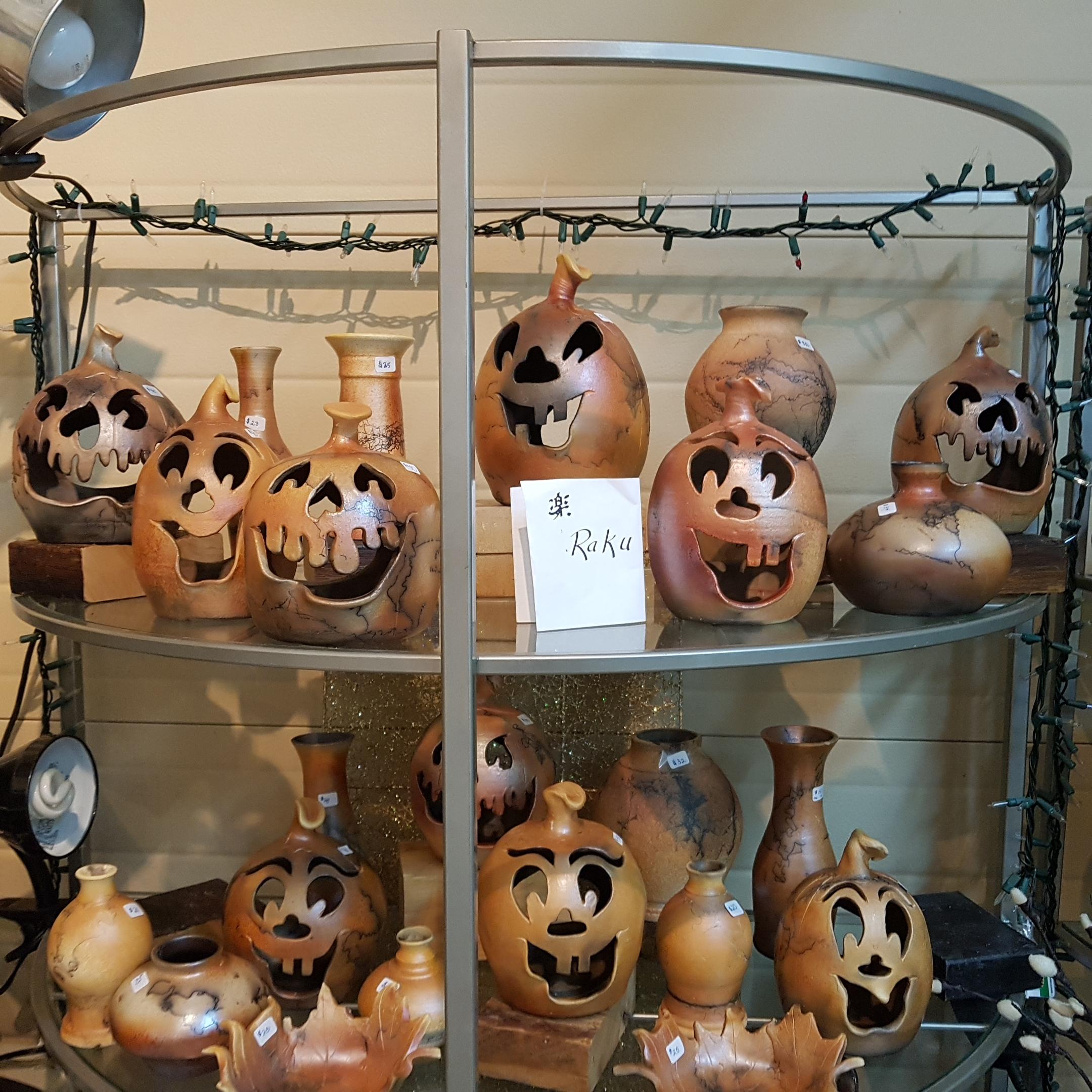 Raku Fired Horse Hair Halloween Pumpkins by Doing Earth Pottery
