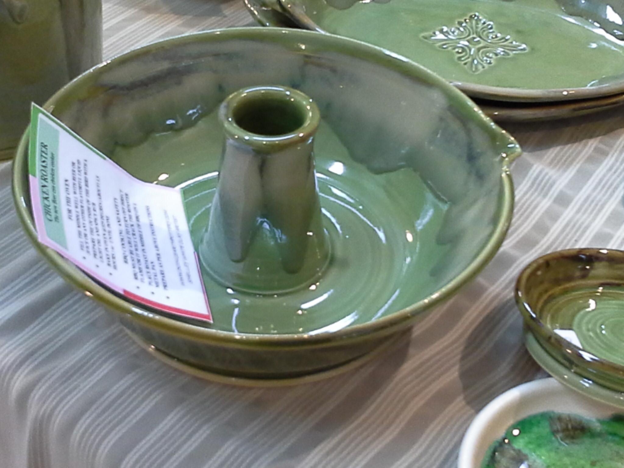 Verticlal Chicken Roaster In Peridot Green Doing Earth Pottery